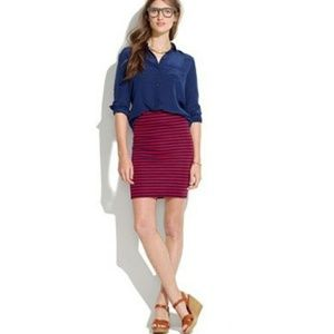 Madewell Red And Blue Striped Pencil Skirt